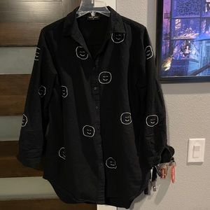 Lazy Oaf smiley face flannel button down